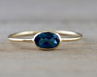 14k Yellow Gold Oval London Blue Topaz Bezel Set Birthstone Mothers Ring Band Stackable