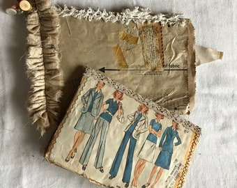 45 piece Vintage Junk Journal Sewing Kit