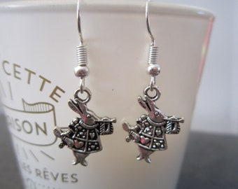 Rabbit from Alice in the land of Wonderland earrings