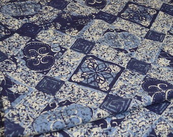 Blue and White Batik Style Vintage Cotton Fabric