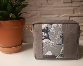 "Kit man ""waves and mount. Fuji""style painting Hokusai - grey"