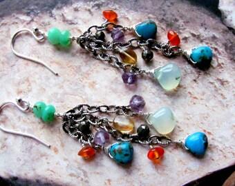 Turquoise Earrings, Gemstone Earrings, Statement Earrings, Chain Earrings, Dangle Earrings, Blue Earring, Green Earring, Southwest Earrings