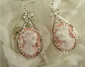 WSE-0026 Lady Cameo Earring Wire Wrapped in Sterling Silver Wire