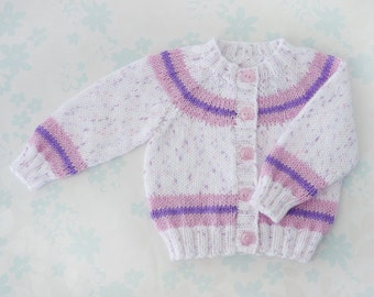 BABY GIRL SWEATER - newborn to 6 months - ivory baby yarn with flecks of pink and purple accented with matching stripes and pink buttons