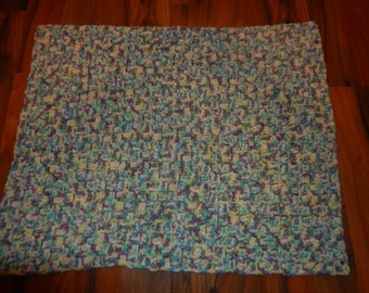 crocheted baby blanket / baby afghan / crochet throw blue, green, white,purple