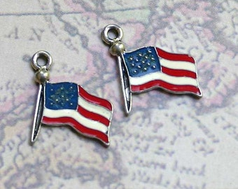 2pcs USA Flag Charm Drop Enamel Silver-Plated Pewter 16mm American Patriotic Charms