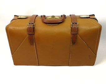 Vintage Suitcase Genuine Leather Mid 20th Century Brown 24 in Luggage