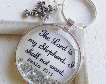 Bible verse keychain, The Lord is my Sheperd, Psalm 23:1, personalized keychain, cross keychain, Christian gift, scripture keychain