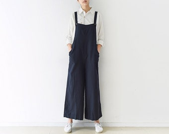 Womens Loose Fitting Comfortable Linen Jumpsuits Overalls Pants With Pockets, Womans Summer Linen Jumpsuits Pants, Casual Pants
