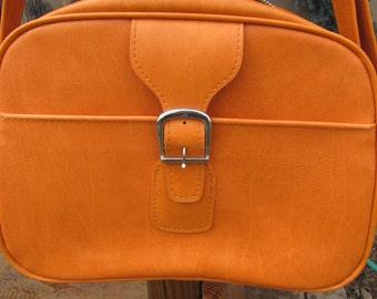 Vintage Samsonite Royal Traveler Sidekick Vinyl Bag, Orange Carrying Case, Vintage Orange Bag