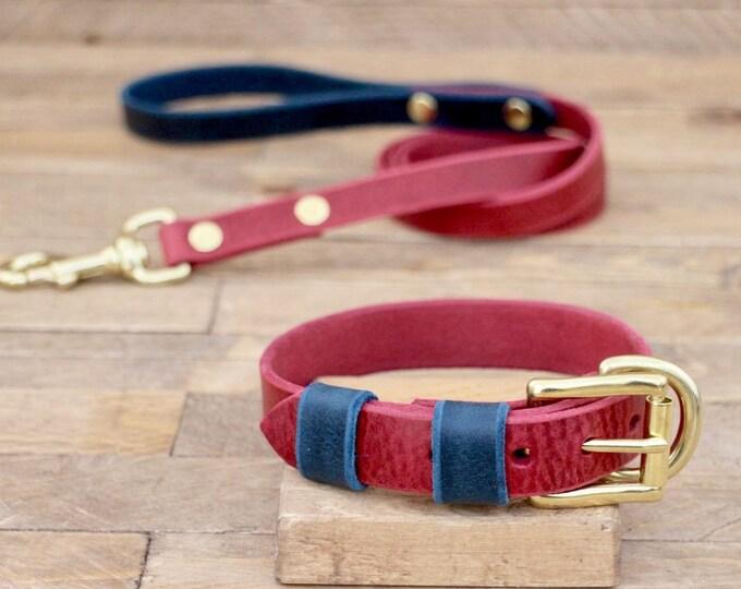 Dog collar, Dog leash, Set, Burgundy, Deep ocean,  FREE ID TAG, Brass hardware, Handmade leather collar, Leather leash, Leather collar.