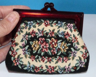 Vintage Coin Purse Tapestry Mini Bag Snap top Closure