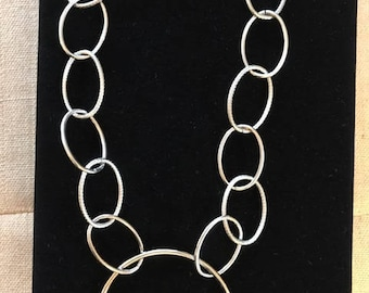 Big Circle Silver Chain Link Necklace