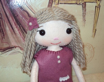 Olivia rag doll with heather pearl dress. Can be personalised