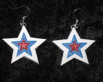 Patriotic Star Earrings,Star Earrings,Red White Blue Earrings,Patriotic Earrings,Memorial Day Gift,July 4th,Mom Gift,Polymer Clay,Silver