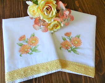 NOS  Yellow Gold Flower Pillowcases, Peach  Pillowcases, Floral Pillowcases, Never Used, White Cotton Pillowcases, Machine Embroidery