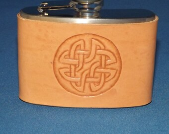 Handmade Leather Hip Flask, Handmade