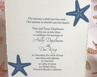 Beach Wedding Starfish Invitations
