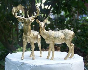 Deer Wedding Cake Topper, Larger Buck and Doe Cake Topper, Gold Deer Cake Topper,Hunting-Woodland-Forest Animal-