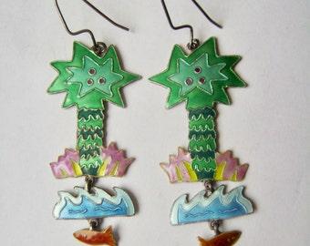 vintage tropical enamel tiered earrings