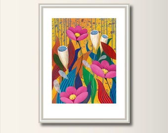 Flowers - Picture,art print, print of original acrylic painting , A4 (297 x 210mm), (11.7 x 8.3 in)