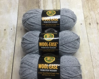Yarn Destash, Wool Ease Yarn, Worsted Weight Yarn, Grey Heather