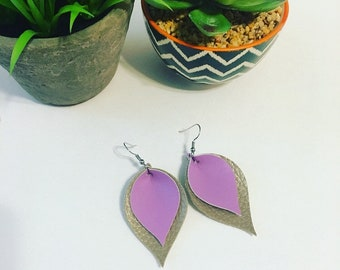Purple & gold layered earrings