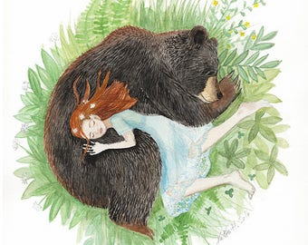 Red Head Girl and Black Bear, Sleeping Friends, Giclee art print, watercolor illustration, animal napping, 8x10