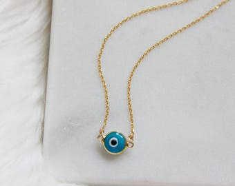 Gold Evil Eye Necklace - Murano Glass -- Turquoise