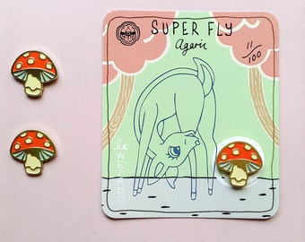 Soft Enamel 'Super Fly Agaric' PIN with BAMBii Sticker!