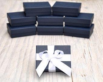20 Navy Blue 3.25x 2.25x1 Gift Jewelry Boxes Retail Presentation with Cotton Fill