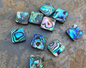 Square Abalone Beads, Two Sided Abalone Beads, 12mm, 10 beads per package.