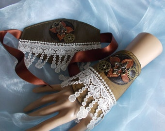 Cuff Bracelets, Fabric Cuffs, Pair, Steampunk Fabric Cuffs, Edwardian, Cosplay, Costume, Lacy, Cogs, Beaded
