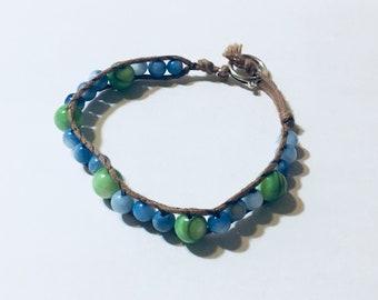 Grass and Sky Beaded Bracelet