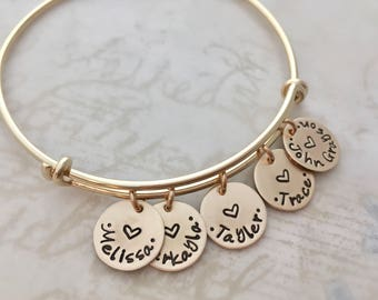 Mother's Day gift, Gold personalized bracelet, mother gift bracelet, expandable bangle bracelet, custom hand stamped names, charm bracelet