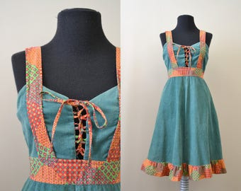 1970s Corduroy and Cotton Lace Up Dress