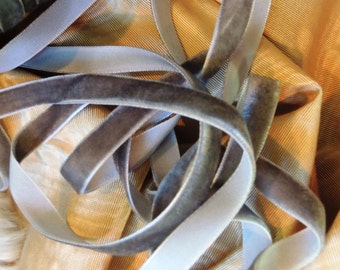 French Mist gray velvet ribbon 2 yards
