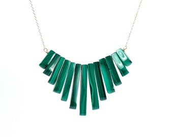 Malachite necklace - bib necklace - bar necklace - healing crystals - a row of malachite wire wrapped onto a 14k gold filled chain