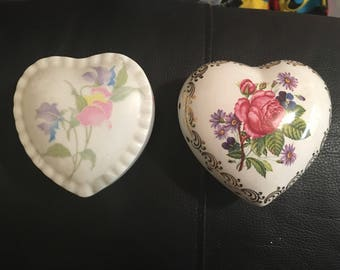 Vintage heart trinket box and pot pourrie collectables, bedroom decor, retro,