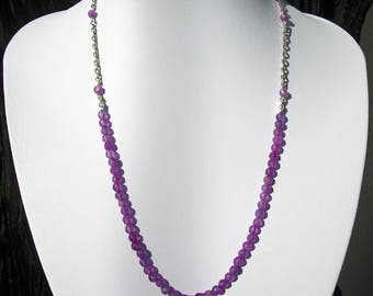 Alexandrite (gemstone) silver plated necklace