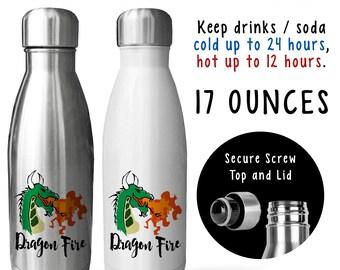 Reusable Soda Water Bottle, Dragon Fire 001, Dragon Gift, Fire Breathing Dragon, Dragon Lover, Gift Idea, Stainless Steel Bottle