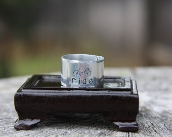 Bicycle Ride - hand stamped aluminum adjustable band ring