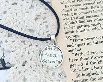 Atticus Finch necklace, recycled To Kill a Mockingbird necklace, vegan leather adjustable cord, bibliophile literary jewelry
