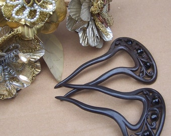 Vintage Hair Combs Two Victorian French Jet Mourning Hair Accessories
