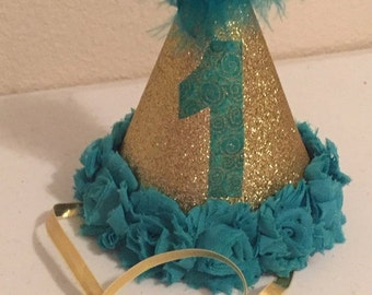 Teal and gold party hat