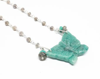 Chrysocolla Turquoise Labradorite Gemstone, Sterling Silver Linked Pendant Necklace, Turquoise Blue Gray Jewelry Set, Free Shipping, N18031