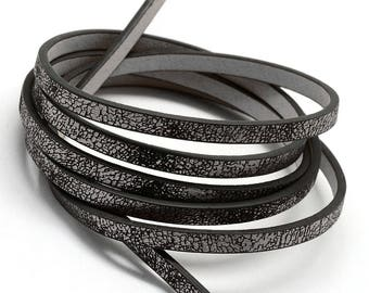 1.15 m lace flat Strip 5 mm faux leather metallic dark silver