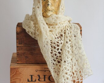Hand made Winter Scarf Shawl  Ivory off white beige wool Neckware lace delicate sea foam Warm Gentle Soft