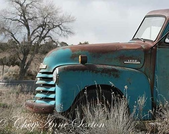 Old Blue 1952 3800 Chevy Truck Big CANVAS Art Print 32x48- Vintage Chevrolet Antique Aqua Turquoise Farm Pickup REDUCED Price