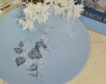 Mid Century Taylor Smith 1960s Vegetable Serving Bowl Blue Grey and White